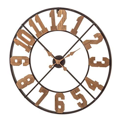 Reloj de Pared rústico marrón de Madera para salón Factory - LOLAhome
