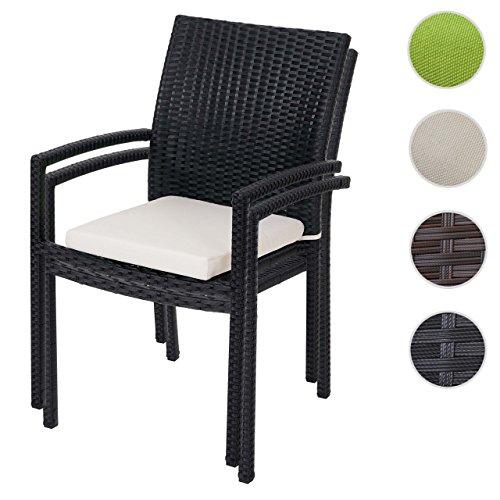 Rattan, Ohne Armlehnen Stuhl (2x Poly-Rattan Gartenstuhl Cava, Stapelstuhl inkl. Sitzkissen ~ anthrazit, Kissen creme)