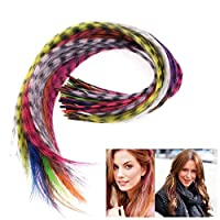 """Tdmzon 50pcs Grizzly Synthetic Feather Hair Extensions 16"""" With 50 Beads For Free Synthetic Feather Multicolor Beauty Tool"""