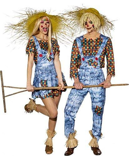 Fancy Me Paar Herren & Damen Harvest Festival Vogelscheuche His & Hers Halloween Tv Buch Film Maskenkostüm Outfits - Multi, UK 6-8 (EU34/36) + Mens Large (EU50/52)