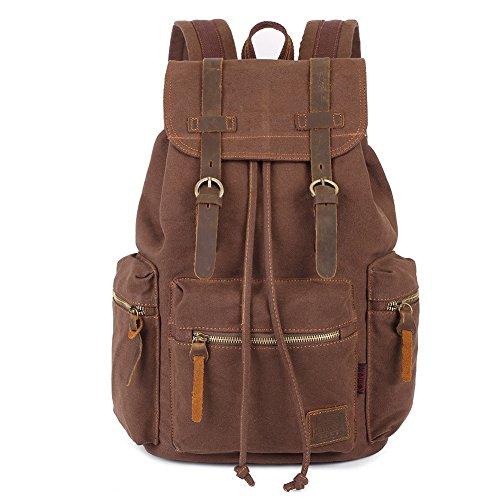 Vintage Rucksäcke 15 Zoll, KAUKKO Damen Herren Schulrucksack Daypack Retro Stylisch Backpack für Outdoor Wanderreise Camping mit Großer Kapazität 27×16×41 cm (Kaffee02) -