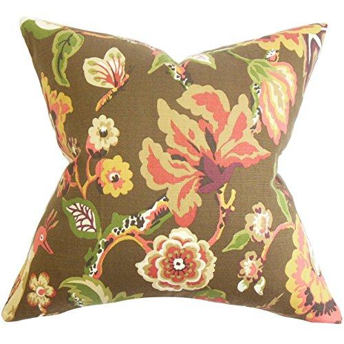 Das Kissen Collection Chaya Kissenbezug mit Blumenmuster Schokolade Braun -
