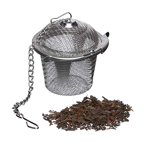 ecoLiving Loose Leaf Tea Infuser - 18/8 Stainless Steel Tea Diffuser Ball - Tea Infuser with Chain Hook to Brew Loose Leaf Tea, Spices & More - Perfect Size Tea Basket for Hanging in Teapots, Mugs etc