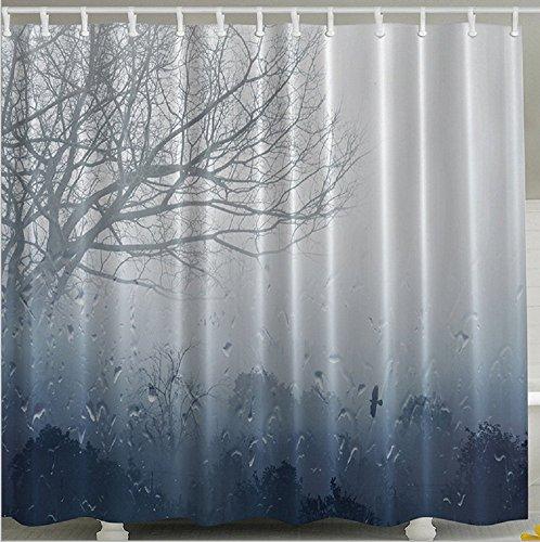 Baum Rain Forest Muster Wasserdicht Badewanne Dusche Vorhänge Stoffe Vorhang mit gratis 12Haken, 180x 180cm (Vorhänge Dusche Stoff)