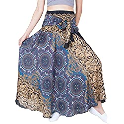 Lofbaz Mujer Falda Larga Bohemia de Cintura Alta Hippie con Flores Design #1 marrón Talla única