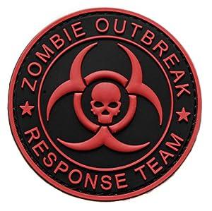 Ecusson tete de mort zombie team en pvc 3d relief patch nucleaire radioactif radioactivité nuclear 8cm biker