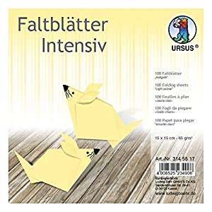 Ursus 3145517 - Hojas Plegables (100 Unidades, 65 g/m², 15 x 15 cm, para Artistas de Origami, teñidas), Color Amarillo Claro