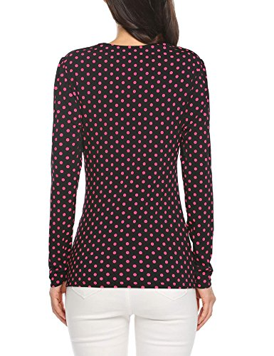 Damen Langarmshirt Polka Dots Shirts Stretch Basic Slim Fit Tops mit Pünktchen PAT2