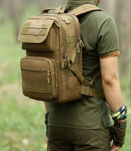 dohot 25L Wasserdicht Military Army Patrol MOLLE Assault Pack Taktischer Rucksack Tasche für Wandern Camping Braun