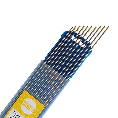 SATISFIED 10X Wolfram Elektrode WIG Nadeln Wolframnadel Wolframelektrode WL-15,2,4Ø x 175 mm Gold
