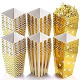 HLEC Popcorn Boxen, Party Candy Container behandeln Kartons Streifenmuster Dekoratives Geschirr für Party Gold (24 Stück)