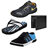 #9: Bersache Men Combo Pack of 4 Sports Shoe With Casual Shoe, Slipper & Wallet