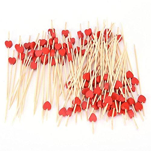 CHIPYHOME Lustige Set 100Stück Original Spikes und Roten Herzen für Grill Spieße Snacks Canapes Wurst, Käse, Varianten, Tortilla, Design auf Ihren Tisch-Party (Grill Spike)