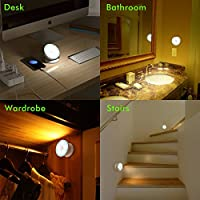 OxyLED N03 Wireless Motion Sensing LED Night Light, 360° Rotatable Stick-on Anywhere Ceiling Lighting with Magnetic Base, UBS Rechargeable Wall Light for Hallway/ Porch/ Closet/ Bedroom/ Kitchen by Oxyled