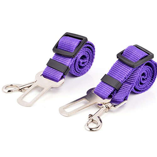 Neuftech 2x Cane Guinzaglio Cintura di Sicurezza Auto per Cani 65cm purple
