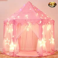 Sumbababy Princess Castle Play Tent Large Kids Play House with Star Lights Girls Pink Play Tents Toy for Indoor & Outdoor Games