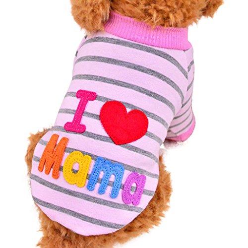is Weiche Warme Haustier Hundewelpen Kleidung Haustier Gestreift Kleidung Kleines Welpen Kostüm Kleid (M, Rosa) (Gestreiftes Piraten Shirt Kostüme)