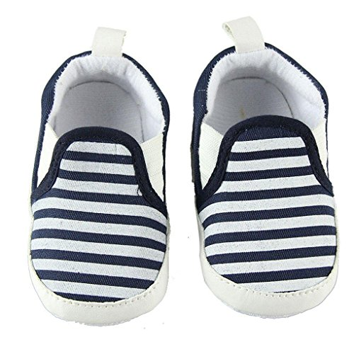 QHGstore Newborn Baby Cotton Stripes suola molle Prewalker pattini infantili del bambino Walkers 12 centimetri blu scuro