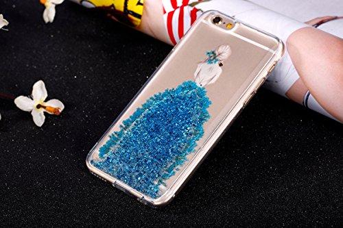 JAWSEU Coque pour iPhone 6/6S 4.7,Apple iPhone 6S Etsui Housse en Silicone Glitter,iPhone 6 Housse Ultra Mince Transparent Flexible Souple Coque Cas Soft Gel Protective Case Luxe Élégant Femme Fille A Bleu/fille