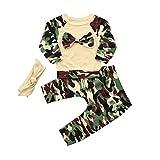 Kobay Neugeborenen Kleinkind Baby Mädchen Jungen Camouflage Bogen Tops Hosen Outfits Set Kleidung (Tarnung, 90 / 18 Monat)
