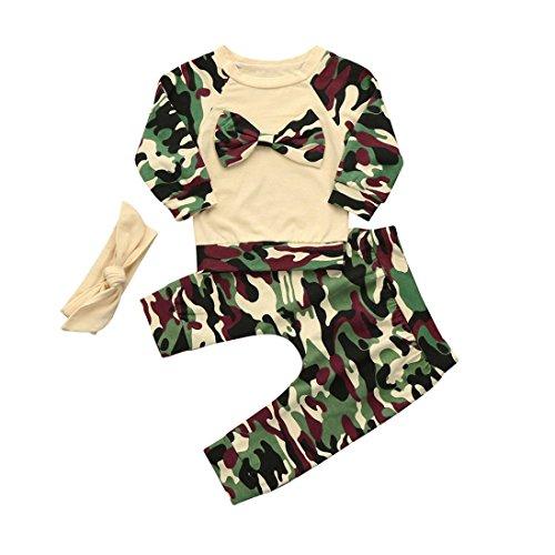 ❤️Kobay Neugeborenen Kleinkind Baby Mädchen Jungen Camouflage Bogen Tops Hosen Outfits Set Kleidung (Tarnung, 90 / 18 Monat)