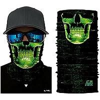 Cráneo verde Tubular Máscara protectora contra el polvo Pañuelo Motocicleta Poliéster Cara de bufanda Calentador de cuello para snowboard Paintball Esquiar Motocicleta Ciclismo