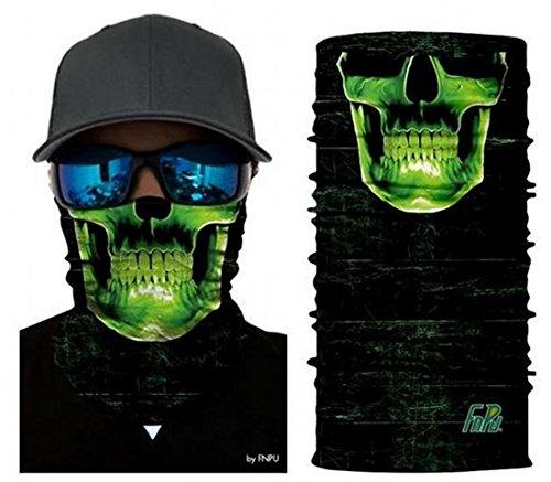 ARUNDEL SERVICES EU Teschio Verde Tubolare Maschera Antipolvere Protettiva Bandana Motociclo Poliestere Faccia di Sciarpa Scaldacollo per Snowboard Paintball Sciare Motociclo Bicicletta