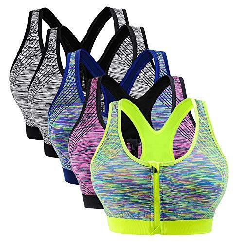 Vertvie Damen Sport BH Push up mit Reißverschluss stoßfest Laufen Yoga atmungsaktive Segment gefärbt Unterwäsche(Schwarz + Schwarz + Blau + Lila + Grün, M fit (70D-80C))