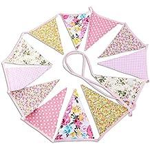 PIXNOR banderines para fiesta de cumpleaños con diseño de algodón ...