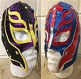WRESTLING MASKS UK Due - Rey Mysterio - Colori Casuali Fornite - Bambini - Zip Maschera - Nuovo - WWE Wrestling Costume Travestimento Vestito