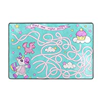 Orediy Soft Rugs Cute Unicorn To Cake Maze Lightweight Area Rugs Kids Playing Floor Mat Non Slip Yoga Rug for Living Room Bedroom