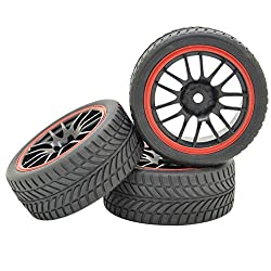 Pxyelec 4PCS/Set Black RC 1:10 Off Road Drift Car 14 Spoke Plastic Hub Wheel Rim and V Tires Tyres
