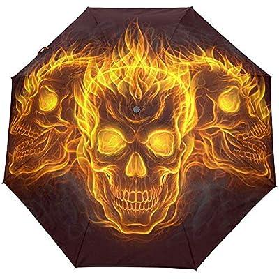 Cute Skulls Halloween Vintage Fire Auto Open Close Paraguas Anti UV Plegable Compacto Automático Paraguas