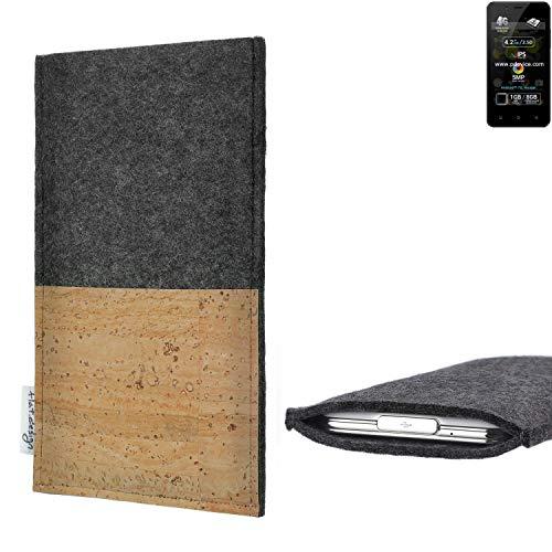flat.design Handytasche Evora mit Korkfach für Allview P4 Pro - Schutz Case Etui Filz Made in Germany in hellgrau mit Korkstoff - passgenaue Handy Hülle für Allview P4 Pro