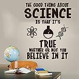 adesivo murale adesivo muro La buona cosa sulla scienza Credi Chimica Decalcomania da muro Laboratorio Scienza Inspirational Quote Wall Sticker Classroom Vinyl