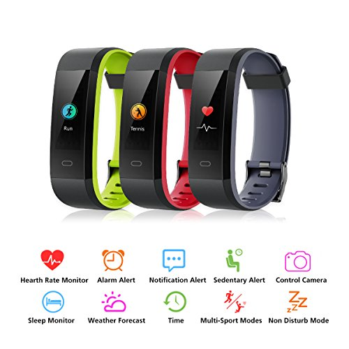 Pulsera Inteligente Muzili Fitness Tracker Impermeable Monitor de Fitness Pulsera de Actividad Reloj Medidor Deportivo con monitor de ritmo cardiaco / Contador de pasos / Contador de calorías / Monitor de sueño / Notificación de llamadas para teléfonos IOS y Android(Negro + Rojo)