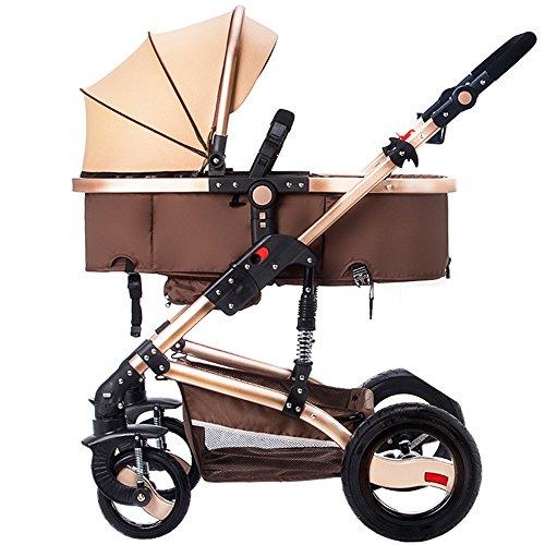 Pueden estar sentados pueden estar tendido choque bebé plegable multifuncional de dos vías de cuatro ruedas, carros de alto perfil de bebé