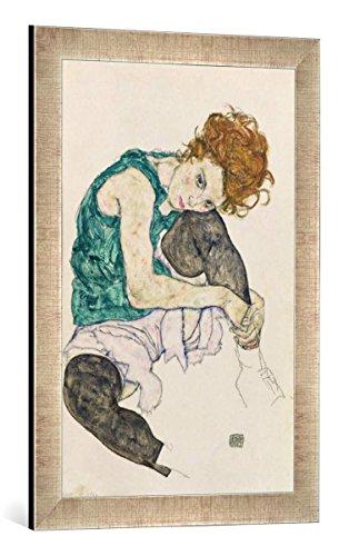 """Gerahmtes Bild von Egon Schiele Sitzende Frau, 1917"""", Kunstdruck im hochwertigen handgefertigten Bilder-Rahmen, 40x60 cm, Silber raya"""
