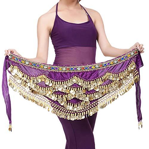 Lonshell Hüft-Tuch für Bauchtanz Gold Münzgürtel Kurz Minirock Wickelbund Strandtuch Bauch Tanz Kostüm Hüfttuch Taille Gürtel Chiffon Rock - Tanz Kostüm Bauch
