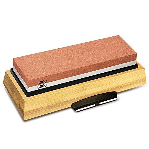 cachor Schleifstein Körnung 3000und 8000–doppelseitig Japanische Schleifstein Set für Messer mit rutschfester Bambus Boden und gratis Winkel Guide