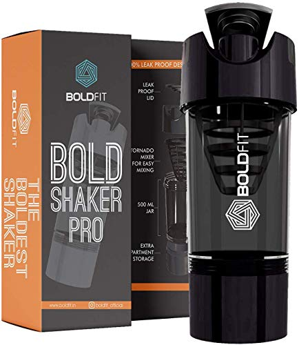 Boldfit Gym Shaker Pro Cyclone Shaker 500ml with Extra Compartment, 100% Leakproof Guarantee, Ideal for Protein, Preworkout and BCAAs, BPA Free Material ... (Black)