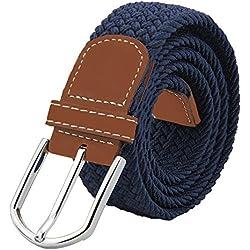 JTDEAL Elástico Cinturón Cuero Trenzado,Unisex Hombres Mujeres Casual Tejido con Hebilla Metal
