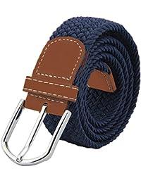 Para hombre elástico cinturón trenzado, jtdeal Unisex Hombres Mujeres Vintage Casual Tejido elástico tejido trenzado elástico tejido con hebilla de piel sintética