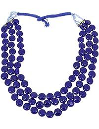 Indian Costume Jewellery Blue Bead Multi Layered Statement Necklace Handmade