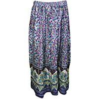 Mogul Interior Womans Beach Summer Skirt Animal Print Orchid Purple Long Skirts S/M