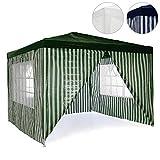 Pavillon Partyzelt 3x3m grün weiß wasserdicht +4 Seitenteile Gartenzelt Eventzelt Marktzelt Festzelt