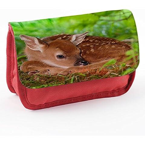 Animali Selvatici 10007, Rosso Scuola Bambini Sublimazione di alta qualità Polyester Astuccio Matita Caso con Design Colorato.21x12 cm.
