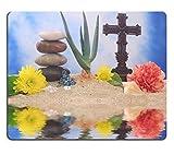 Liili Mauspad Naturkautschuk Mousepad Bild-ID: 1781426Kreuz und Blumen auf sand mit Aloe Vera Pflanze