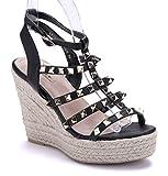 Schuhtempel24 Damen Schuhe Keilsandaletten Sandalen Sandaletten schwarz Keilabsatz Nieten 11 cm High Heels