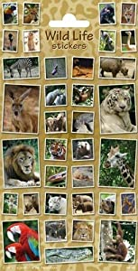 speel Goed 1100423-Papeterie y Pegatinas Stickers Wildlife, Multicolor